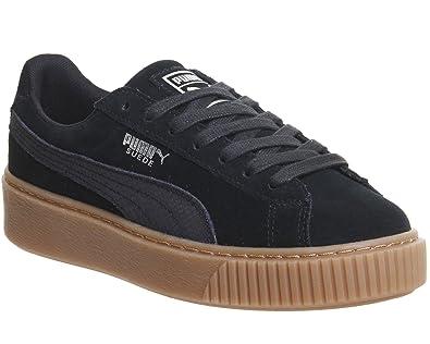 Puma Damen Basket Platform Patent Sneaker, Schwarz (Black-Silver), 41 EU