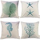 "HOSL Ocean Park Theme Decorative Pillow Cover Case D 18"" X 18"" Square Shape-ocean-beach-sea-print-green-starfish-seahorse-voyage (Four-piece)"