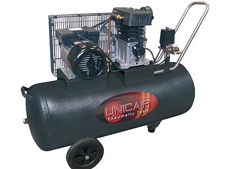 Compresor de aire UNICAIR CC-3/100L. 100 litros 3 HP. Transmisión