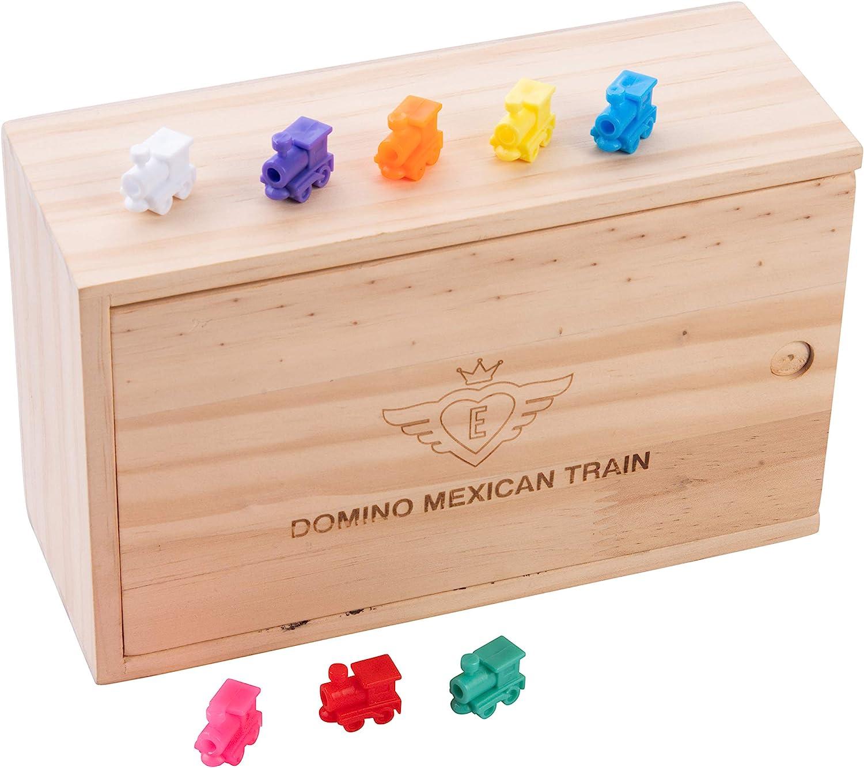 8 Trains color/és Inclus Engelhart 2 /à 8 Joueurs Double 12 Nombres 91 Dominos /épais et color/és 8 mm Dominos Facile Coffret de Dominos Mexicain Train Version Nombres // Version Classique