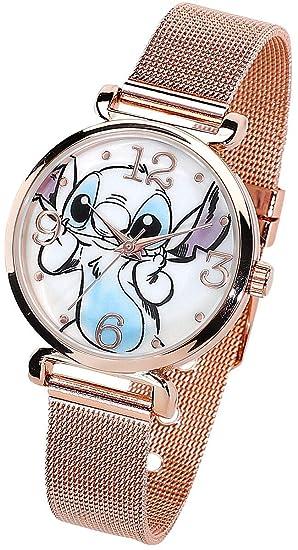 Reloj de Pulsera con Correa de Malla Dorada Lilo and Stitch ...