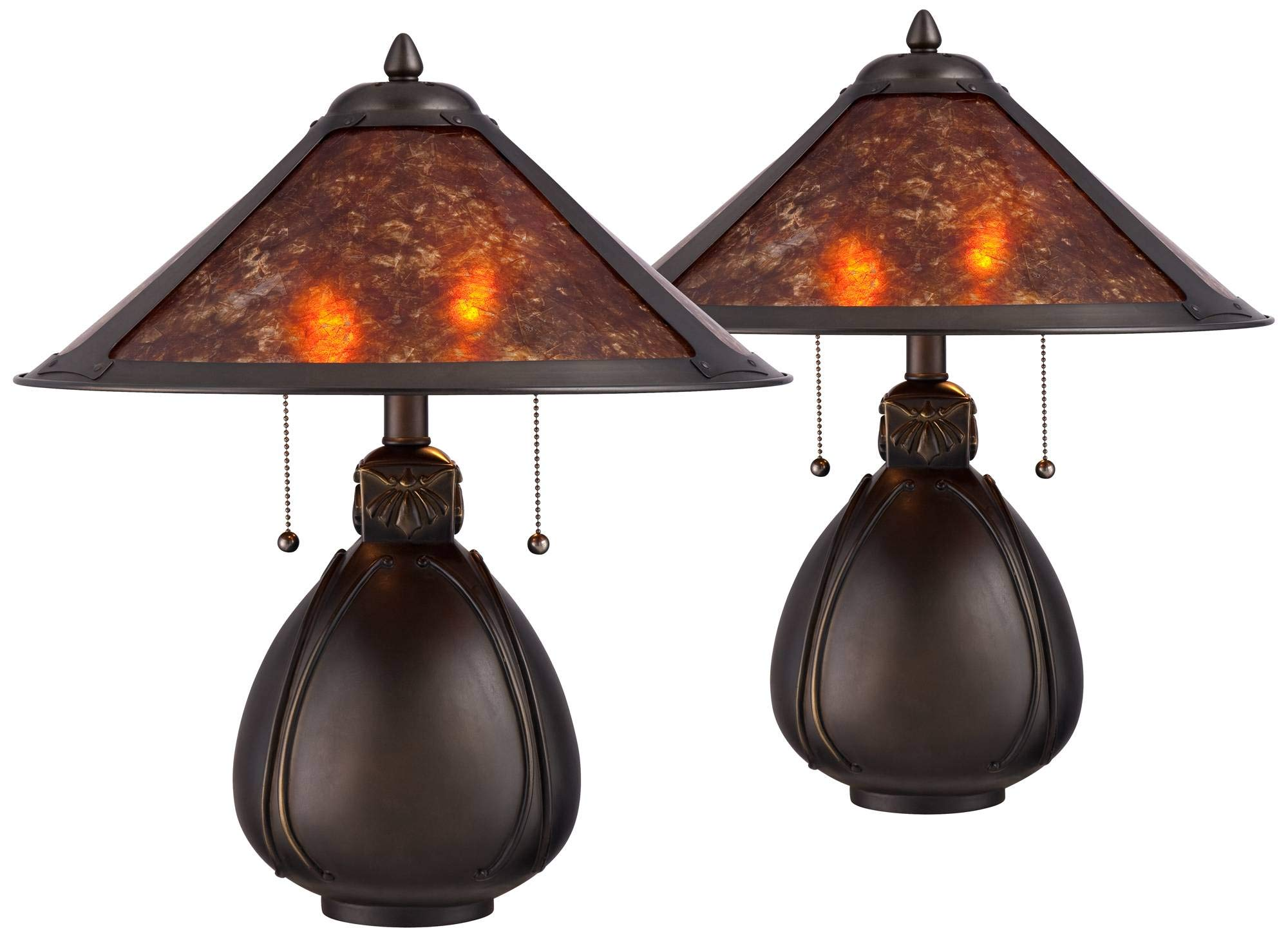 Nell Traditional Accent Table Lamps 19'' High Set of 2 Bronze Pottery Natural Mica Shade for Bedroom Bedside Office - Robert Louis Tiffany