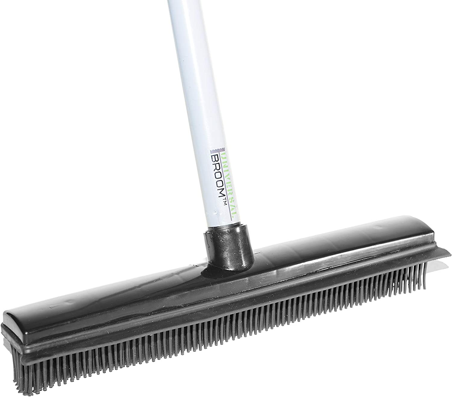 Universal Broom - Pet Hair Broom with Rubber Broom Head & Squeegee - Adjustable to 5ft - Washable Rubber Broom for Pet Hair, Dirt & Spills - Carpet Rake to Fluff Carpet, Cleans Wood, Tile and Windows