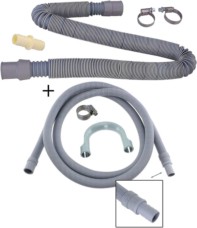 Spares2go - Tubo de desagüe de 2,5 m + kit de extensión de 2 m ...