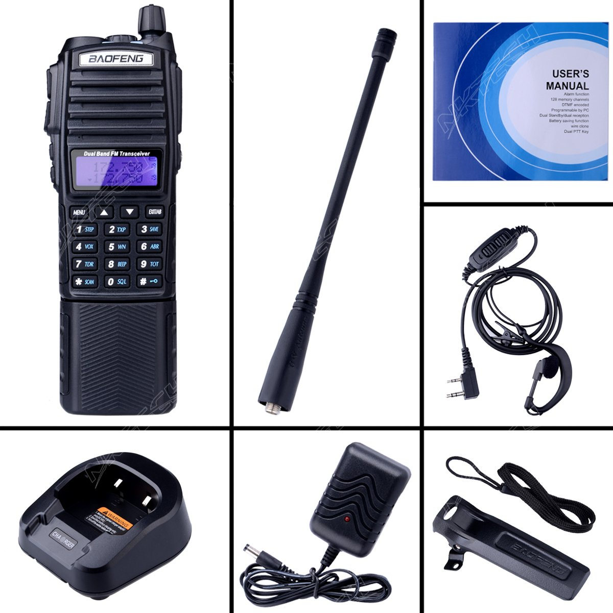 Negro Est/ándar NKTECH BaoFeng UV-82 Tri-Power High Mid Low 8W 4W 1W UV Cross Band VHF UHF 136-174//400-520MHz Transceptor de Jam/ón Walkie Talkie Power by BL-8