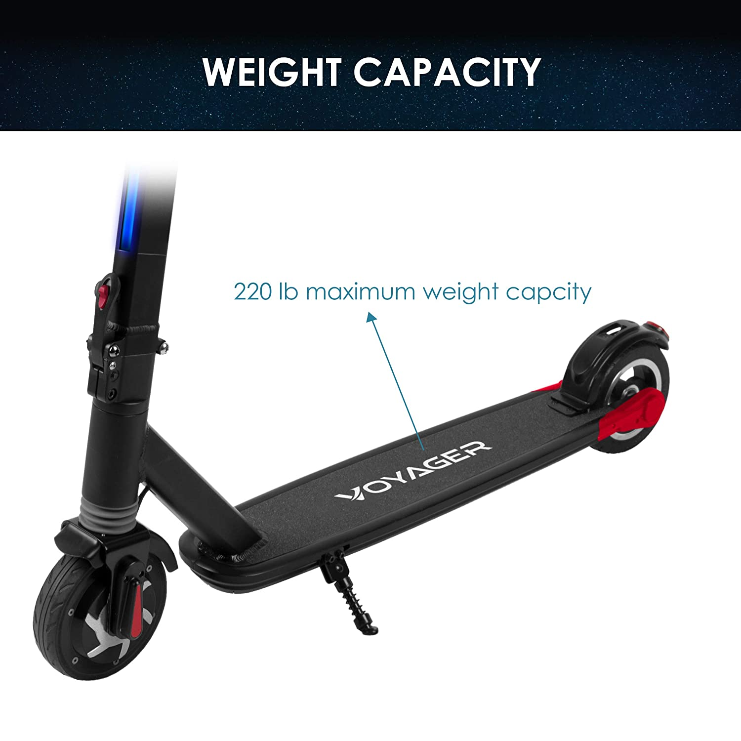 Voyager Proton Foldable Electric Scooter with LCD Display, LED Headlight and Light Strip, 15 MPH Max Speed, Long Range Battery up to 6 Miles