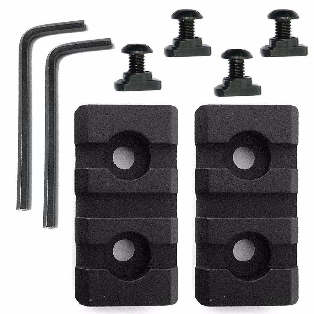 Paddsun 2 PCS 3 Slot Picatinny Weaver Aluminum Rail Section - Black