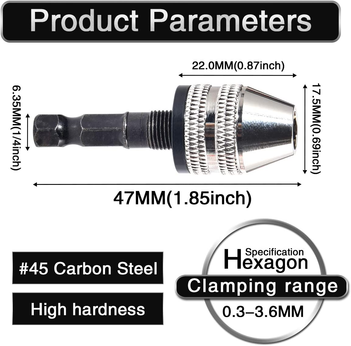HOEN Keyless Mini 3-Jaw Drill Chuck Screwdriver Adapter with Quick-Change 1//4 Hex Shank to Hold Straight-Shank 0.3-3.6mm Drill Bits Milling Cutters for Micro-Production or Medical Industry