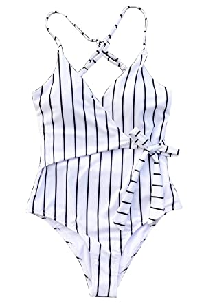 b36ccbca4cf8e CUPSHE Women s Stay Young Stripe One-Piece Swimsuit Beach Swimwear Small