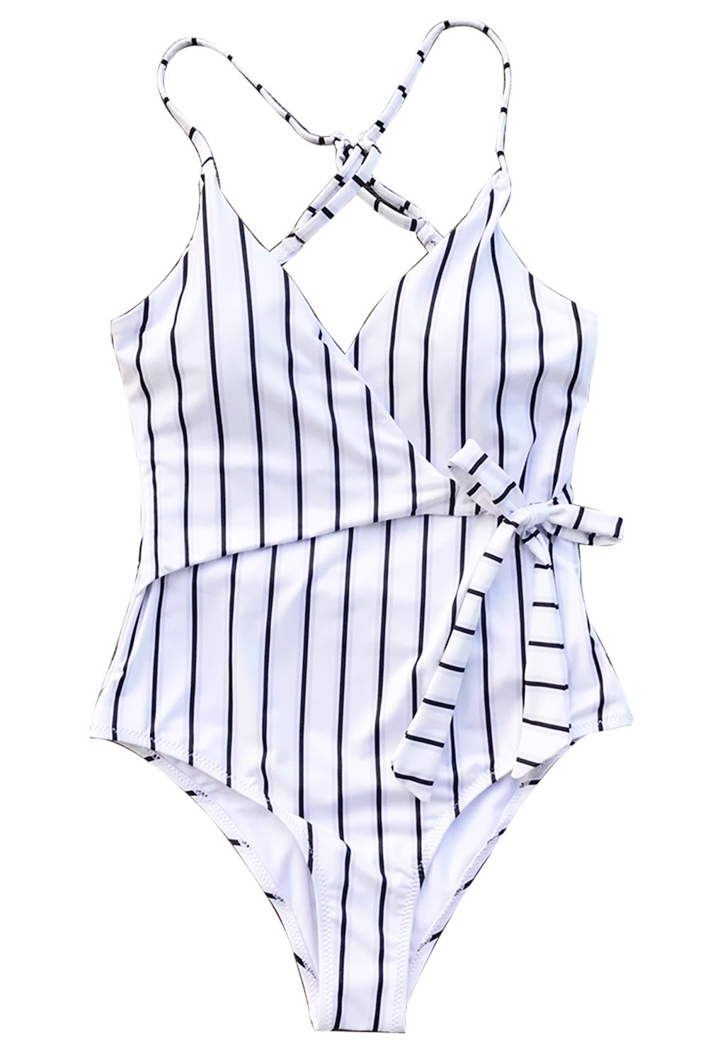 Cupshe Fashion Stay Young Stripe One-Piece Swimsuit Beach Swimwear Bathing Suit (S)