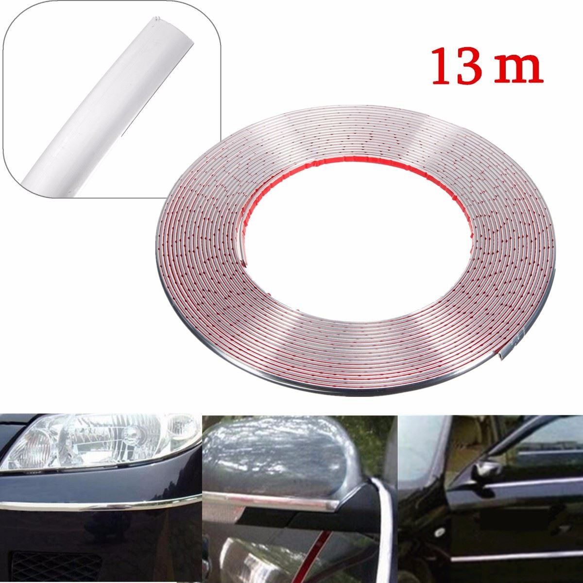 MONNY 13m 8mm Silver Chrome Car Door Egde Guard Body Styling Moulding Strip Adhesive Trim