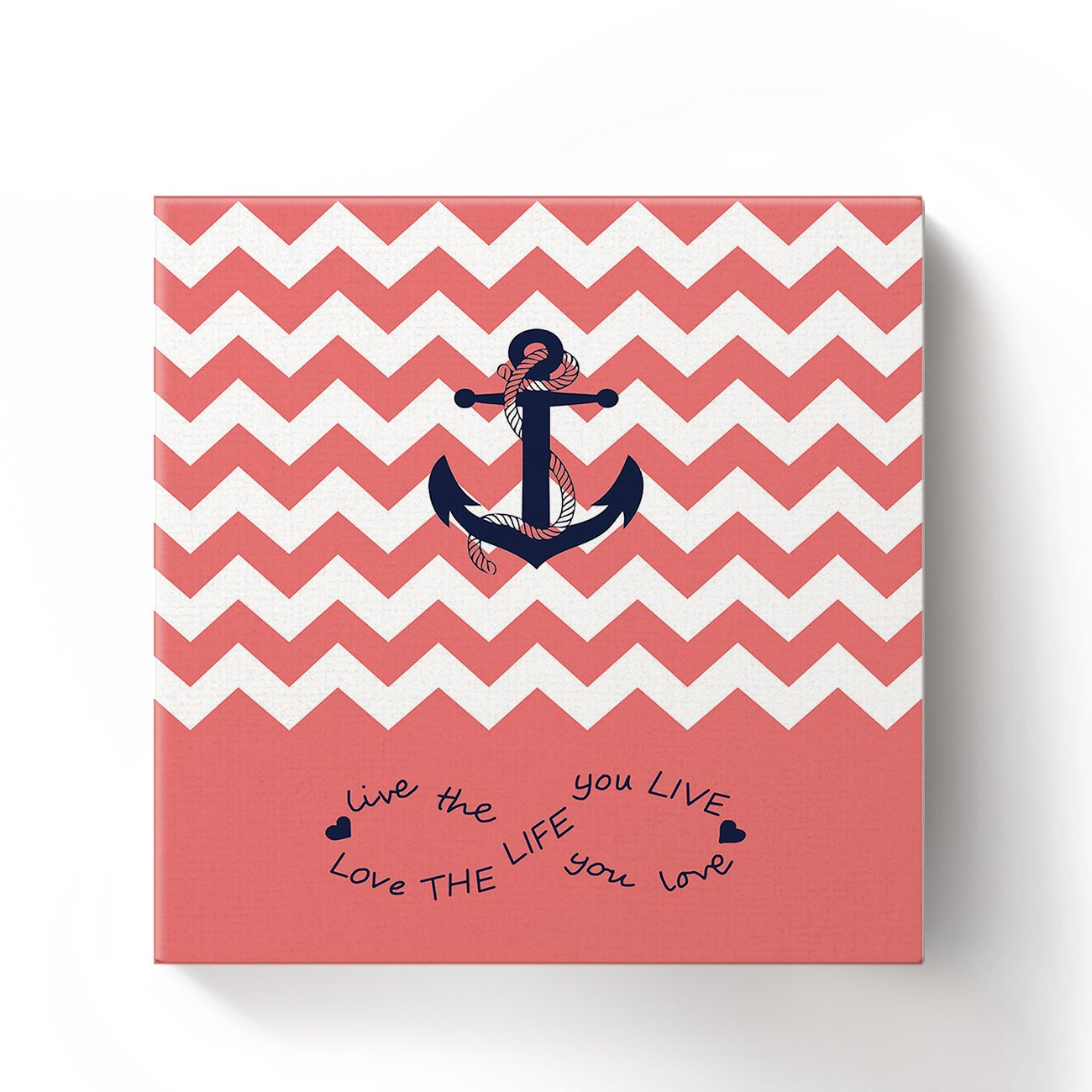 Anchor Love The Life You Love Chevron Zig Zag Ripple Coral White - Oil Painting On Canvas with Wood Frame Modern Wall Art Pictures For Home Decoration,12''x12'' by Prime Leader (Image #1)