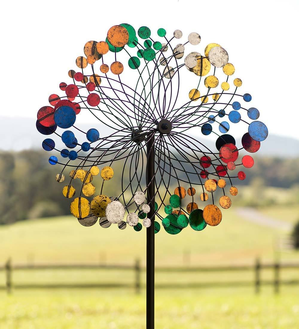 Plow & Hearth Multicolored Bubbles Outdoor Garden Wind Spinner Yard Sculpture 24 dia. x 10.75 D x 75 H