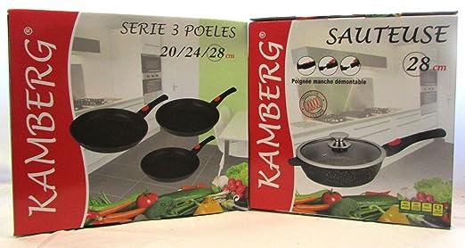 KAMBERG - Juego de 3 sartenes (20, 24, 28) y sartenes de 28 ...
