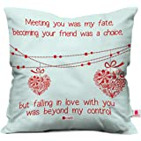 Indigifts Indibni Printed Micro Satin, Fibre Cushion Cover with Filler (White)