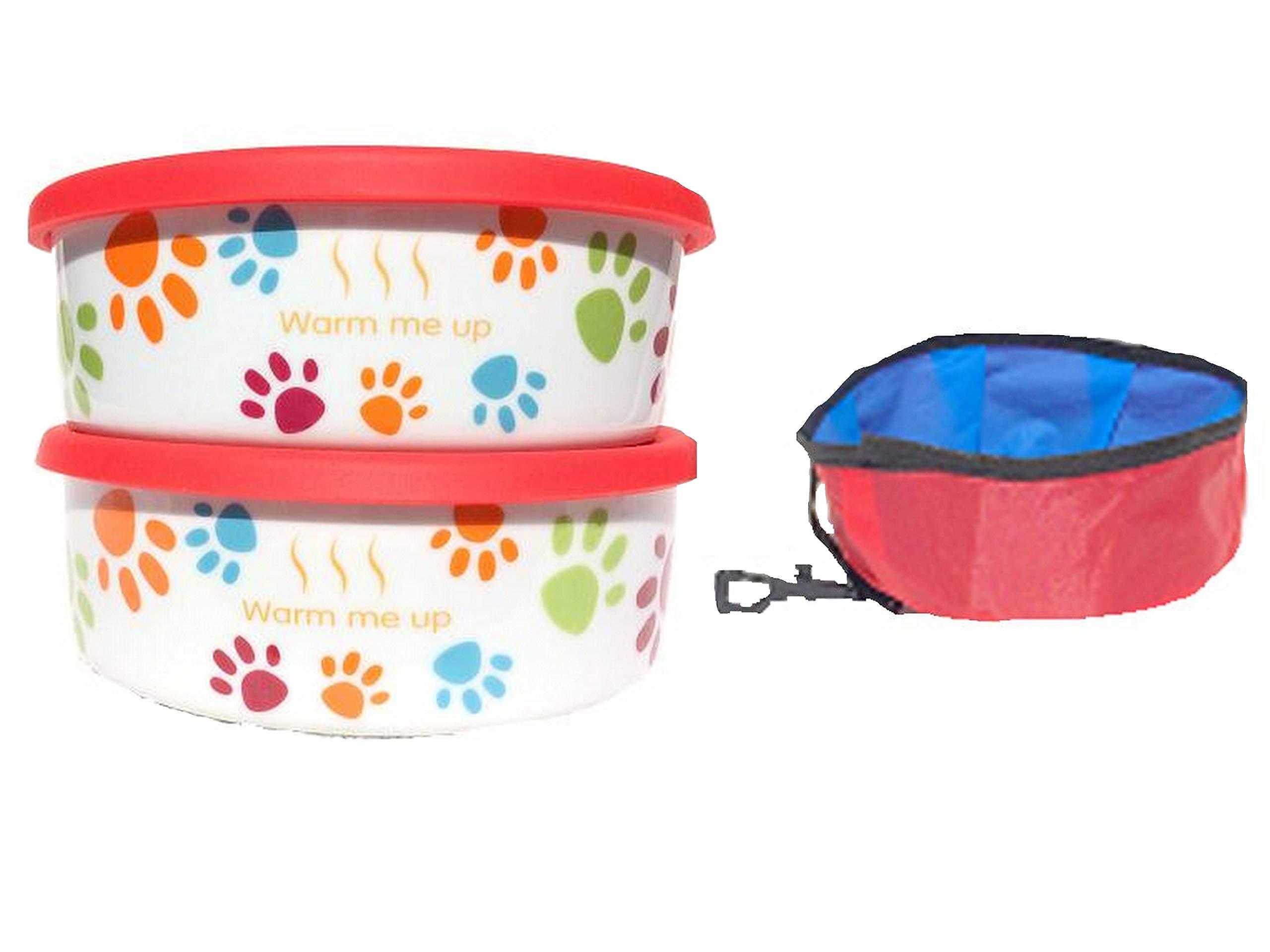 2 Dog/ Cat Bowls with Lid plus a Free Pet Travel Bowl. This Pet Dish Set is FDA approved porcelain material+ airtight storage lid plus collapsible Pet Travel Bowl for dog cat food or water by Quality Line (Image #1)