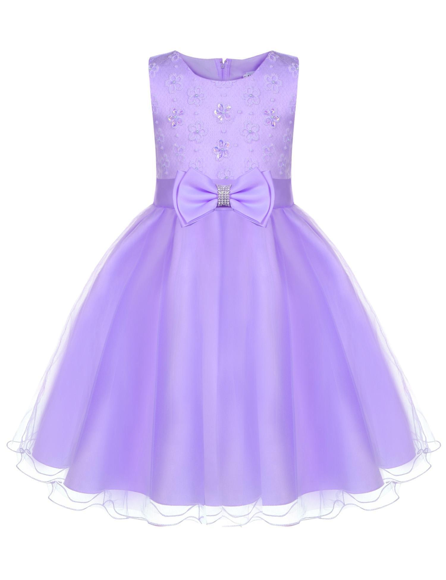 d02f61248 Galleon - DonKap Girls Lace Wedding Party Dresses Flower Girl Birthday Dress  Purple 7-8Y