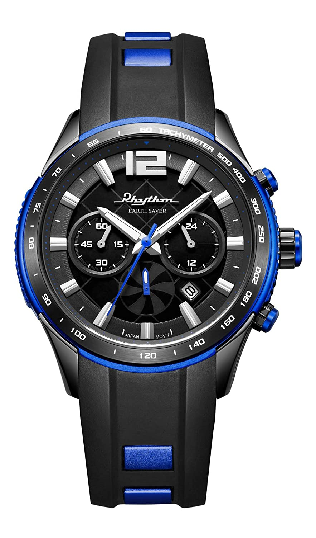 RHYTHM Herrenuhr Solar Earth Saver Chrono Armbanduhr Schwarz Blau - R-ES1401R02