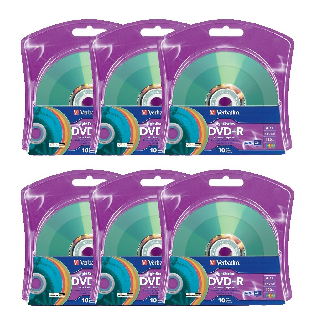 Verbatim 16x DVD+R LightScribe Assorted Color Blank Media, 4.7GB/120min - 60 Pack (6 x 10 Packs)