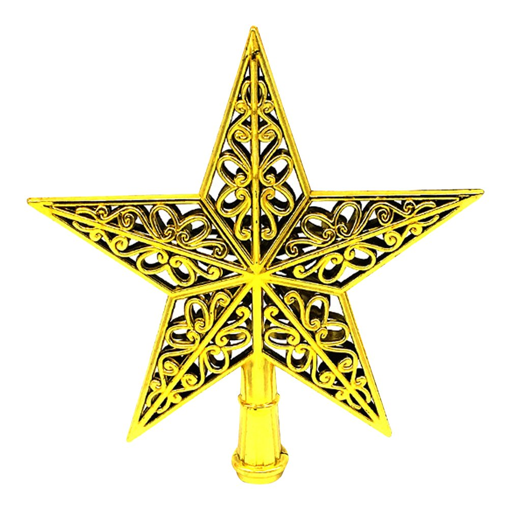 Eizur Christmas Tree Top Sparkle Star Hang Xmas Decoration Ornament Treetop Topper Home Decor--Gold