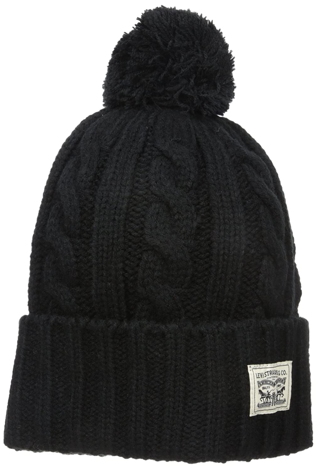 9f60bf11e130 Levi's Men's Pompom Cable Beanie Hat, Black, One Size at Amazon Men's  Clothing store: