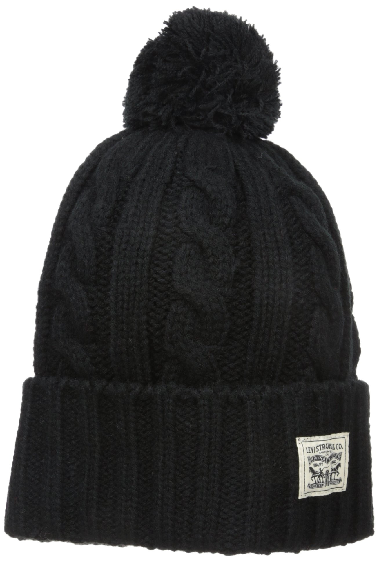 17b912666734 Galleon - Levi's Men's Pompom Cable Beanie Hat, Black, One Size