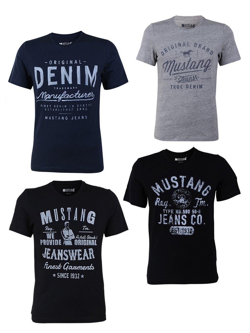 61c7831b52a4b Mustang 4er Pack Herren T-Shirt mit Frontprint und Rundhalsausschnitt -  Farbmix Blau und Schwarz