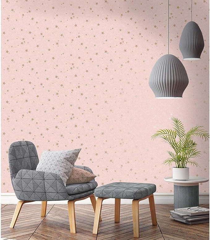 Fine Decor Starlight Home Rose Gold Metallic Wallpaper M1488