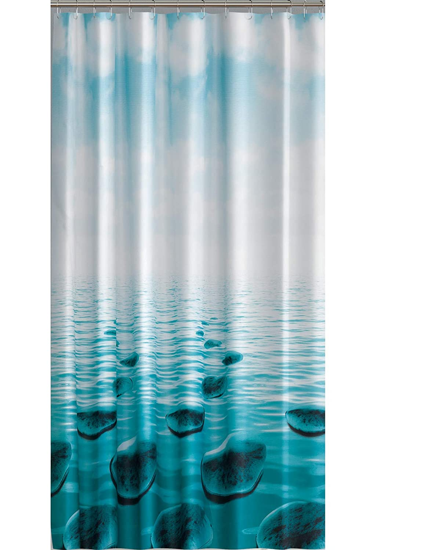 Ekershop EDLER Textil Duschvorhang 240 x 200 cm Stein im Meer Dunkel Türkis Petrol Schwarz inkl. Ringe