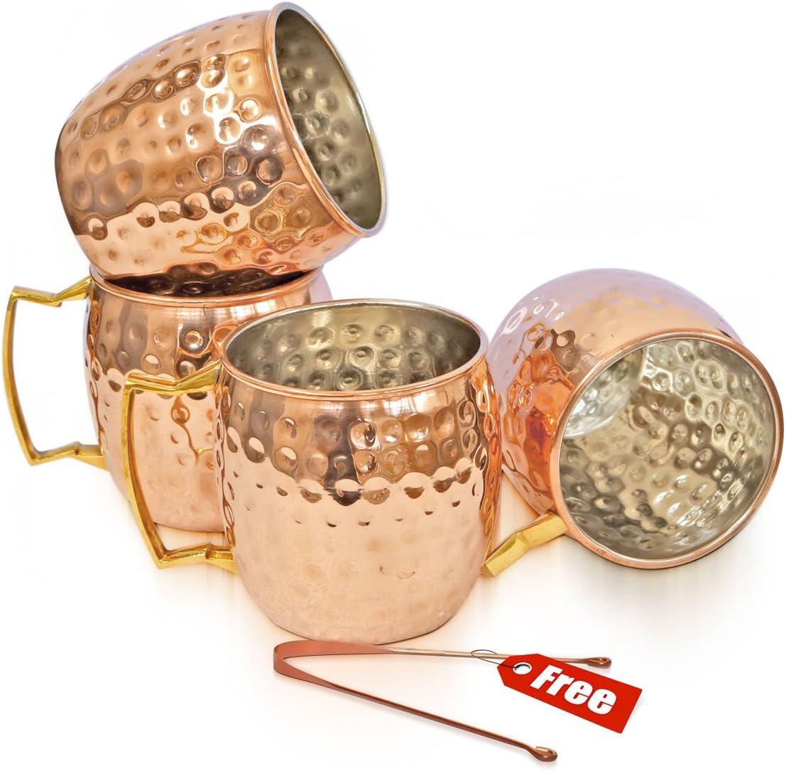 Taza de cobre macizo Rudra ® Moscú Mule 18 oz / 532 ml - Juego de 4, - Acabado lacado en níquel de mejor calidad, Copa cóctel de mula de Moscú, Tazas