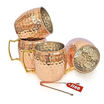 Taza de cobre macizo Rudra ® Moscú Mule 18 oz / 532 ml - Juego de