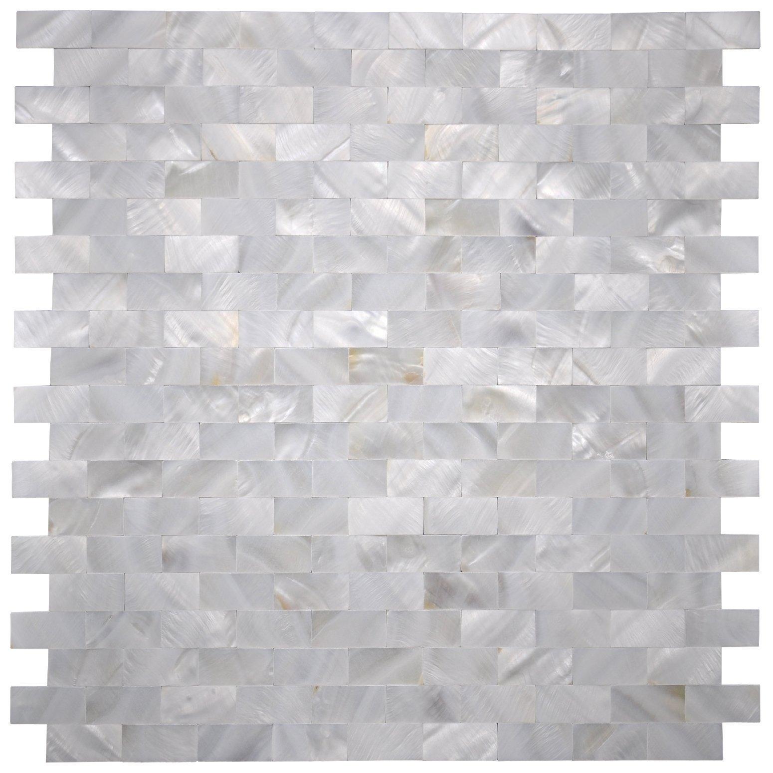 Art3d 6-Pack White MOP Shell Mosaic Tile for Kitchen Backsplashes/Shower Wall, 12'' x 12'' Groutless Subway