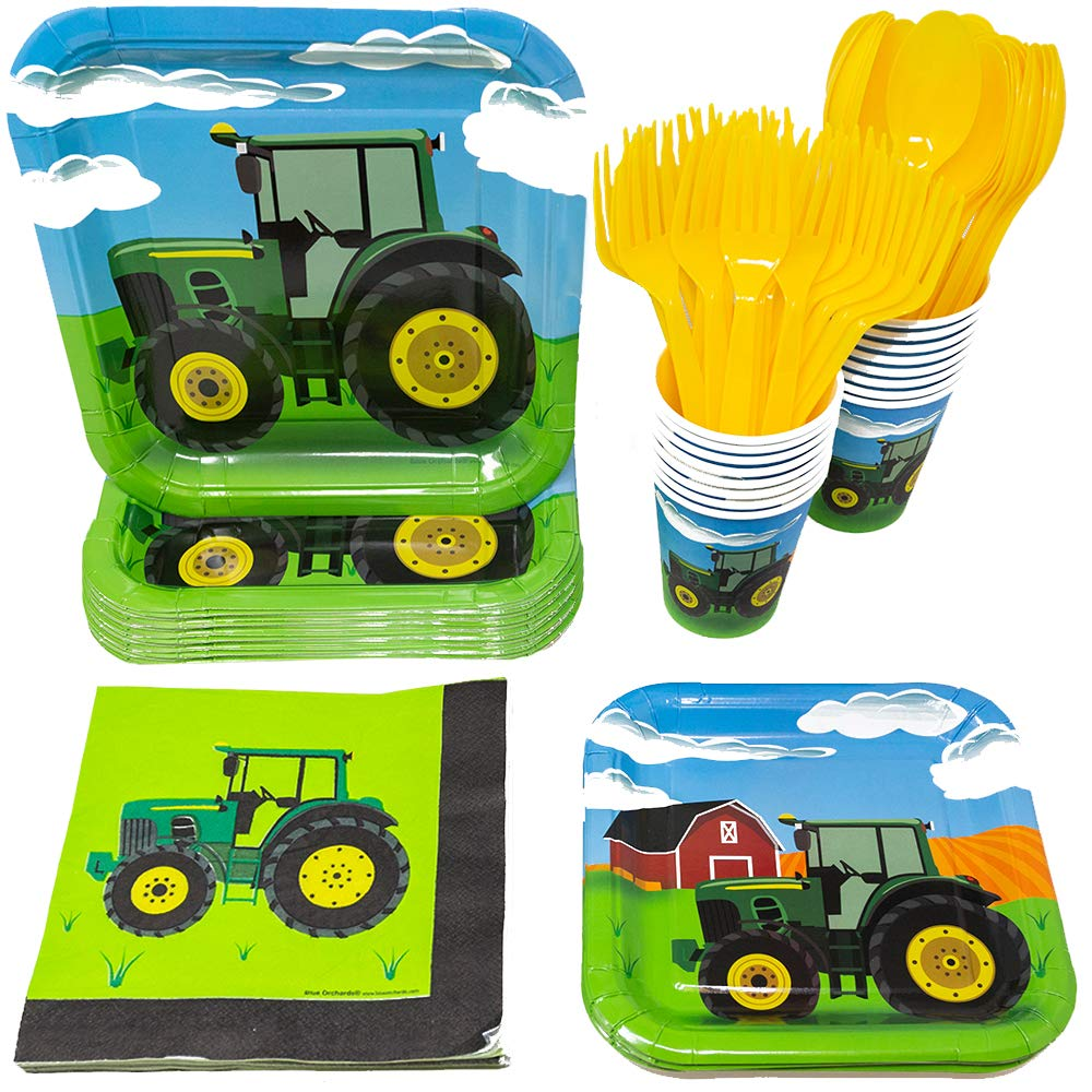 Tractor Party Supplies Pack (113+ Pieces for 16 Guests!), Tractor Birthday Kit, Tractor Plates, Tableware by Blue Orchards