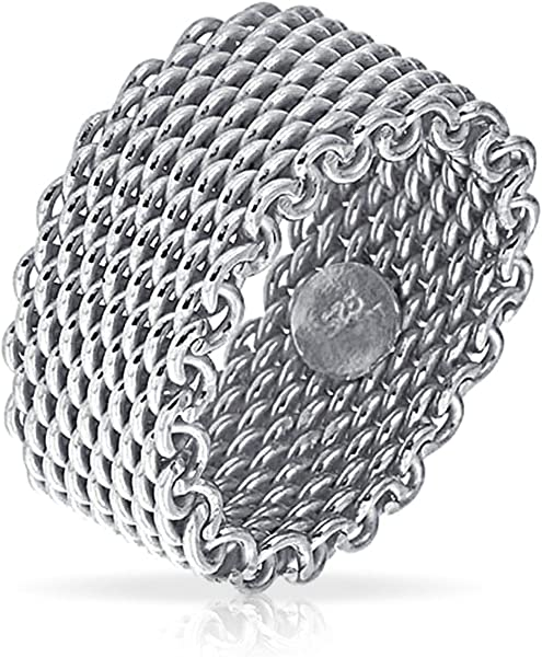0d347e97ec0aa Amazon.com  Wide Woven Mesh Band Ring For Men For Women Weave Braided 925 Sterling  Silver  Jewelry