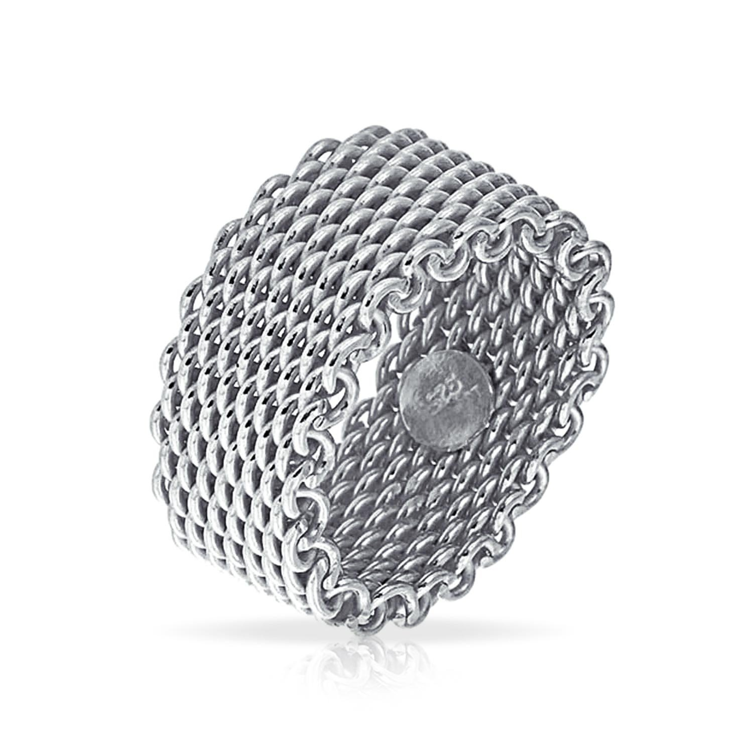 Heavy Woven Mesh Style Stelring Silver Ring
