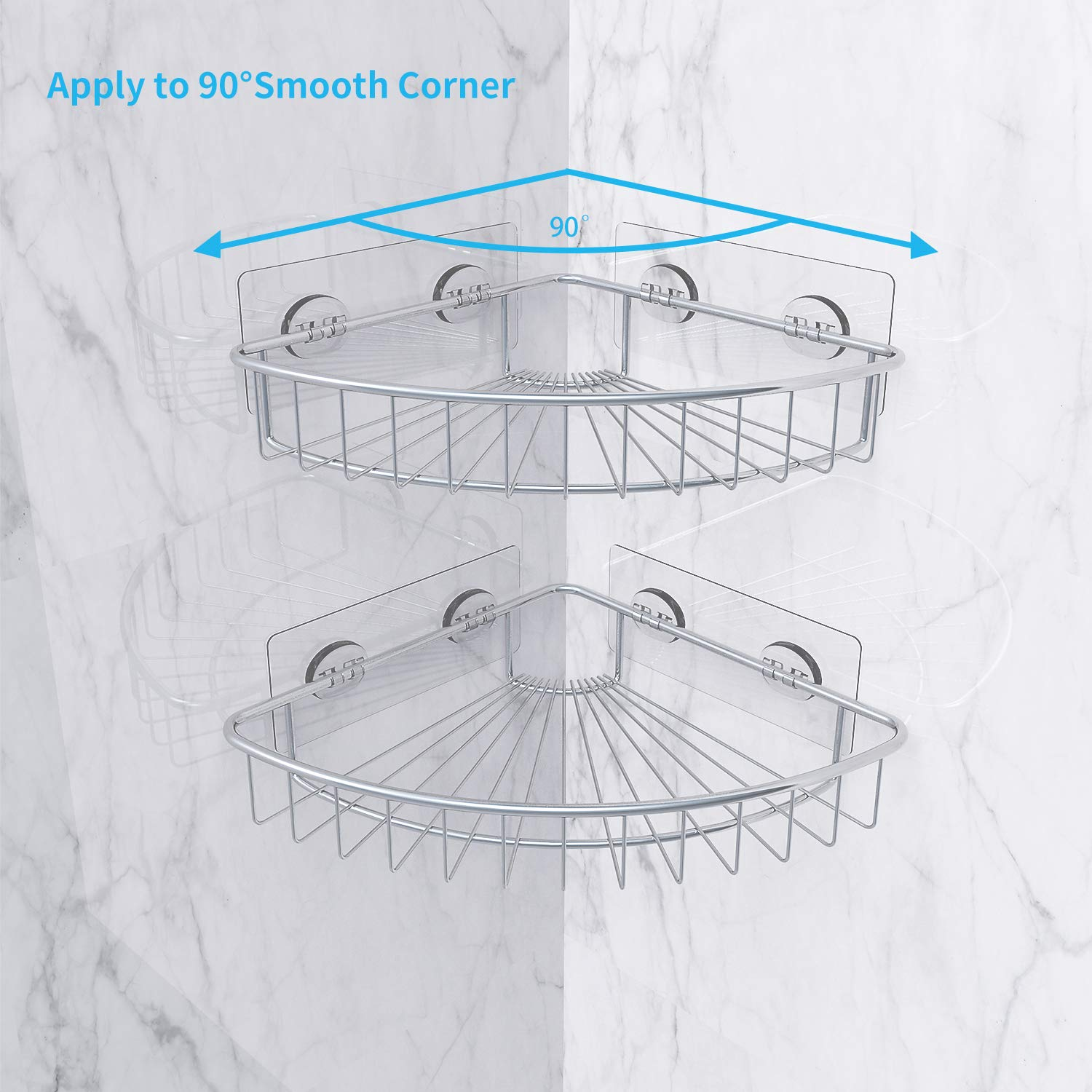 SMARTAKE 2-Pack Corner Shower Caddy, SUS304 Stainless Steel, Wall Mounted Bathroom Shelf with Adhesive, Storage Organizer for Toilet, Dorm and Kitchen by SMARTAKE (Image #2)