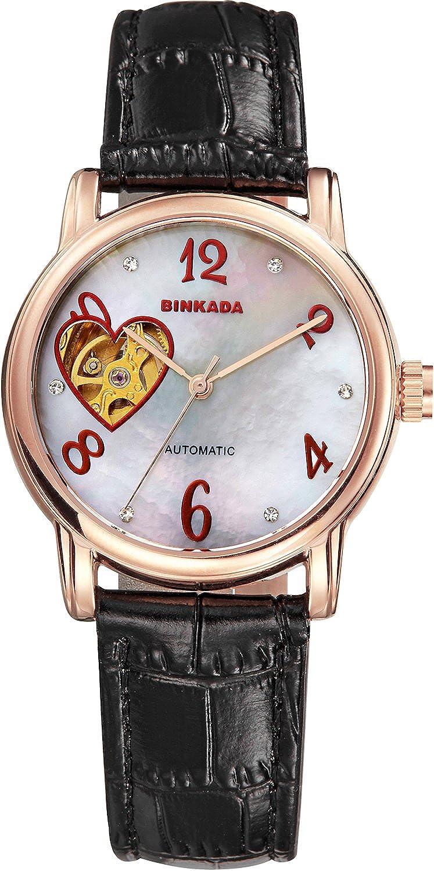BINKADAレディースファッションラインストーンLove自動機械Womens Watches Best Forギフト Black Band-Gold Case-White Dial B015EBTS3OBlack Band-Gold Case-White Dial