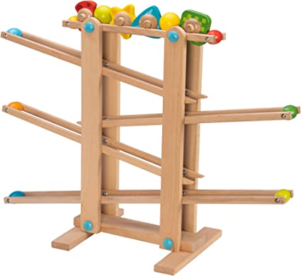 Amazon Com Fat Brain Toys Fbt Wooden Marble Run Roll N Go Wooden Marble Run Early Learning Toys For Ages 2 To 3 Toys Games