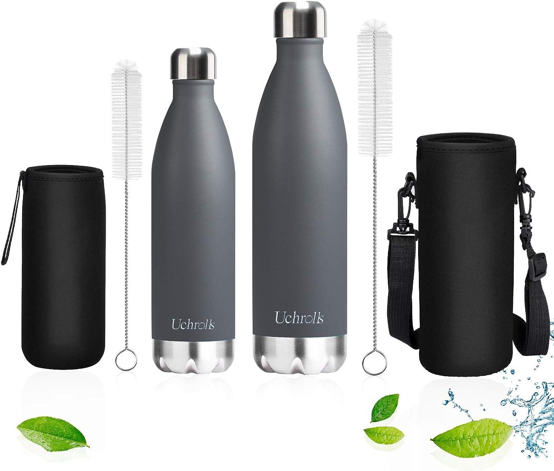 Doble Pared al vac/ío Botella sin BPA Reutilizable Yunoo Botella de Agua Acero Inoxidable 500ml M/ármol Negro