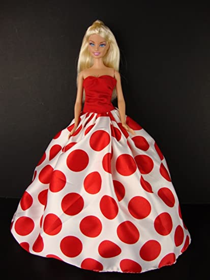 Burgundy Ball Gown with White and Silver Skirt  Made to Fit Barbie Doll