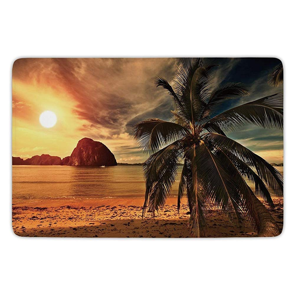 Bathroom Bath Rug Kitchen Floor Mat Carpet, Tropical, Exotic Beach with Coconut Palm Tree and Horizon Sunset Calm Panorama, Orange and Olive Green, Flannel Microfiber Non-Slip Soft Absorbent YVSXO
