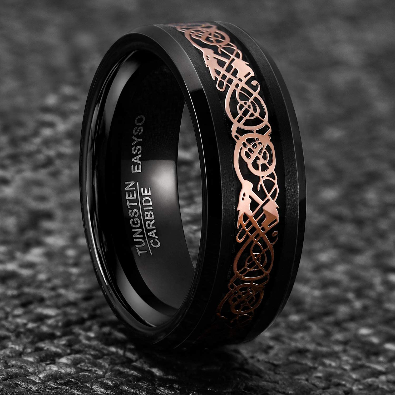 Black Celtic Dragon Titanium Ring LIFETIME WARRANTY Custom Engrave Black Men/'s Titanium Ring Band Women