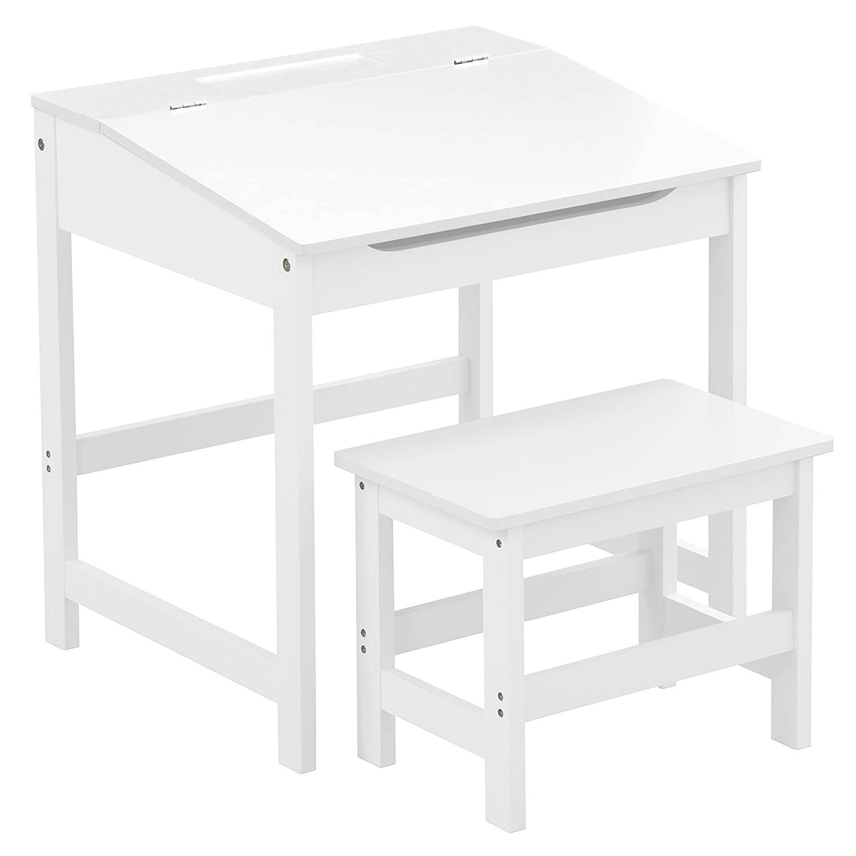 Premier Housewares Kinder Schreibtisch-Set, mit Tisch und Stuhl, 57 x 55 x 48 cm, 2-teilig, blau _ PARENT, holz, Weiß , 48x55x57 cm 2404480 2404480_Blanco