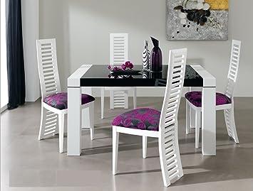 Table A Manger Extensible 140 230 Cm Coloris Blanc Laque Et Verre