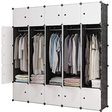 ae3f5c45b627 KOUSI Portable Closet Wardrobe Closet Clothes Closet Bedroom Armoire Storage  Organizer with Doors