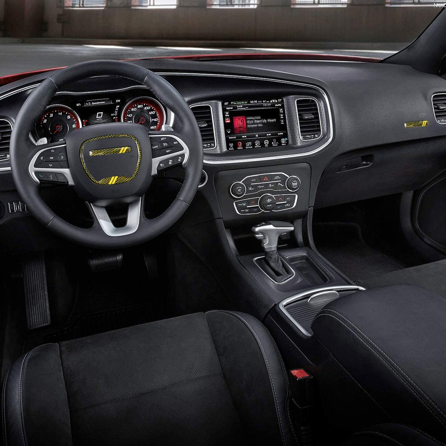 Yellow Not Fit SRT Version Steering Wheel Emblem Kit Trim Cover for Dodge Challenger Charger Durango RT /& Scat Pack 2015~2020 Interior Decoration Accessories