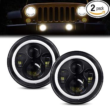 2PCS 7inch Round LED Headlight Beam Halo Angle Eye For Jeep Wrangler JK LJ TJ