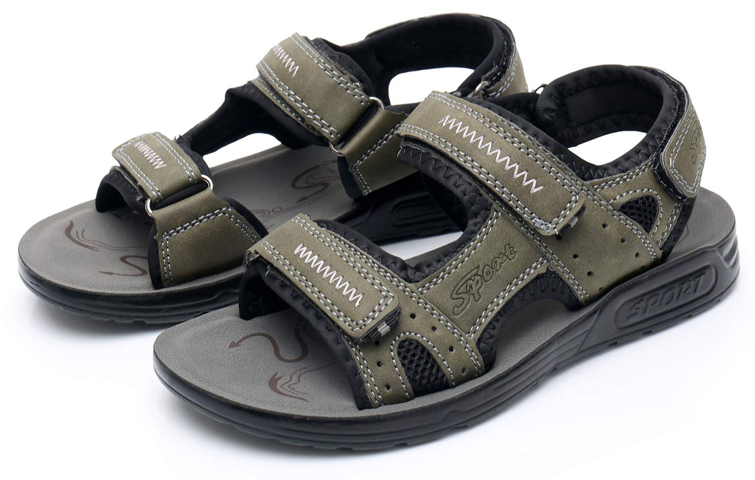 Non-Slip Summer Shoes Kids Boys Open Toe Three Strap Walking Sandals Durable Color : Camouflage Green , Size : 4 M US Big Kid