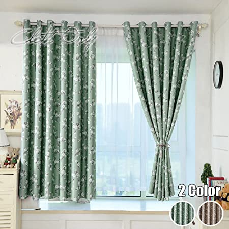 Winyy Modern Rustic Floral Printed Semi Blackout Curtains