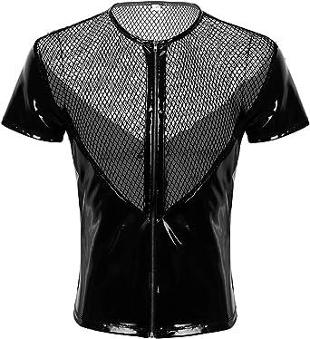 MSemis Camisa de Músculo Camiseta de Cuero Malla para Hombres ...